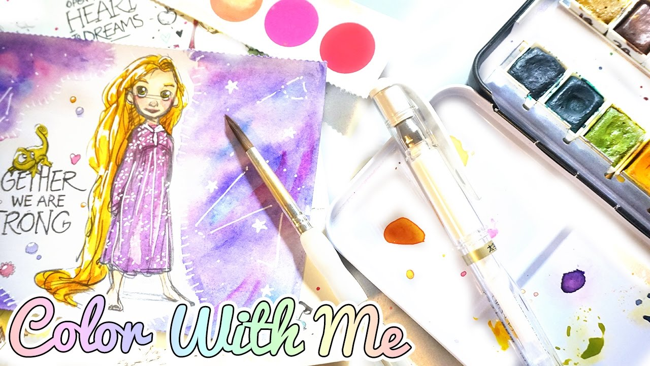 Disney Watercolor Coloring Book ❖ Princess Rapunzel - YouTube