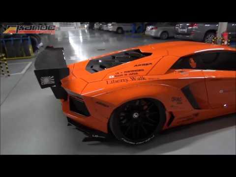 Lamborghini aventador liberty walk crusing on the french riviera - trailer  crazy sound