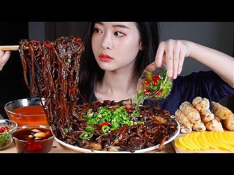 ASMR Mie Kacang Hitam Pedas Penuh Dengan Cabai Pedas Korea Jjajangmyeon MUKBANG EATING SHOW