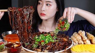 리얼 고추짜장 육즙탕수육 군만두 리얼사운드먹방spicy Black Bean Noodles Full Of Korean Spicy Chillies Mukbang Eating Show