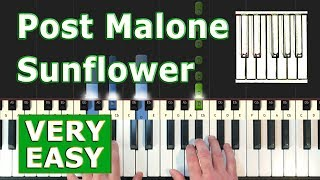 Post Malone Swae Lee Sunflower - VERY EASY Piano Tutorial - Spider-Man Into the Spider-Verse.mp3