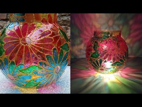 DIY Tealight Holder. How To Convert Fish Bowl Into Lamp Shade. DIY Diwali Decor. DIY Candle Holder.