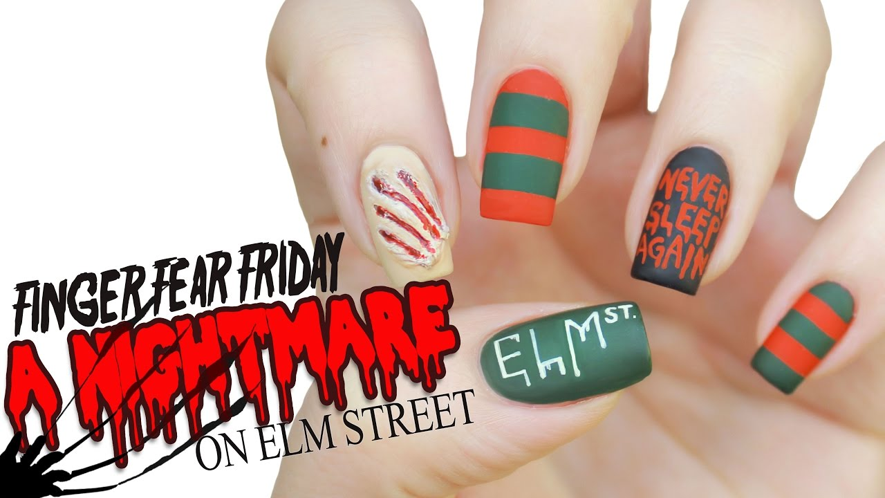 Nightmare on Elm Street Nail Art | FINGER FEAR FRIDAY - YouTube
