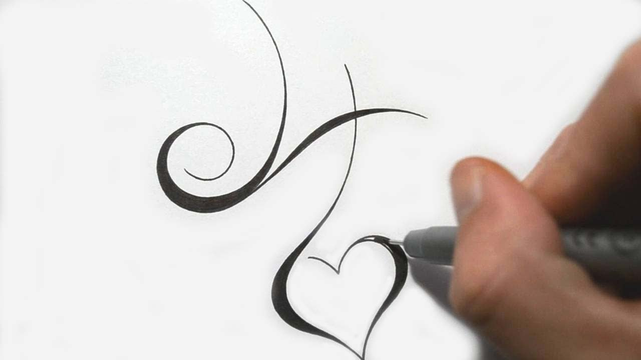 8a2b7c3c973bc Designing Simple Initial H Tattoo Design Calligraphy Style - YouTube