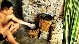 Primitive Life: Make a water bucket from wood and water filter!