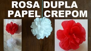 ROSA DUPLA DE PAPEL CREPOM - FLOR DE PAPEL CREPOM (DIY How to make Crepe Paper Rose Flower)