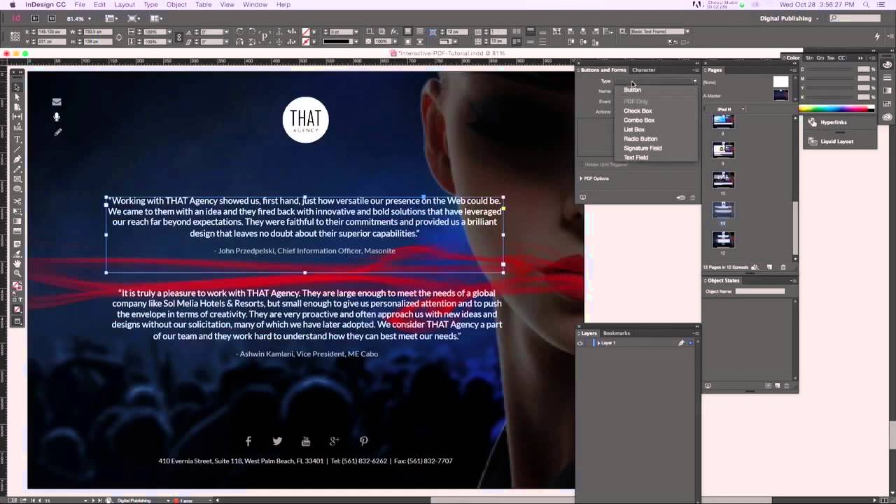 Creating interactive pdf in indesign cc control