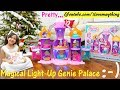 Toys for Little Girls: Shimmer and Shine Magical Light-Up Genie Palace. Toy Dolls Playset Unboxing