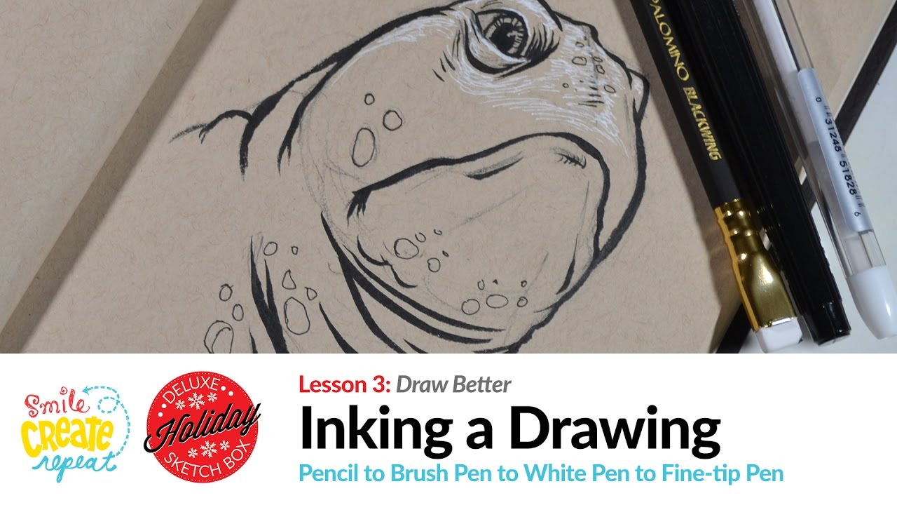 Inking tutorial with a brush pen over a pencil drawing with white accents on toned paper