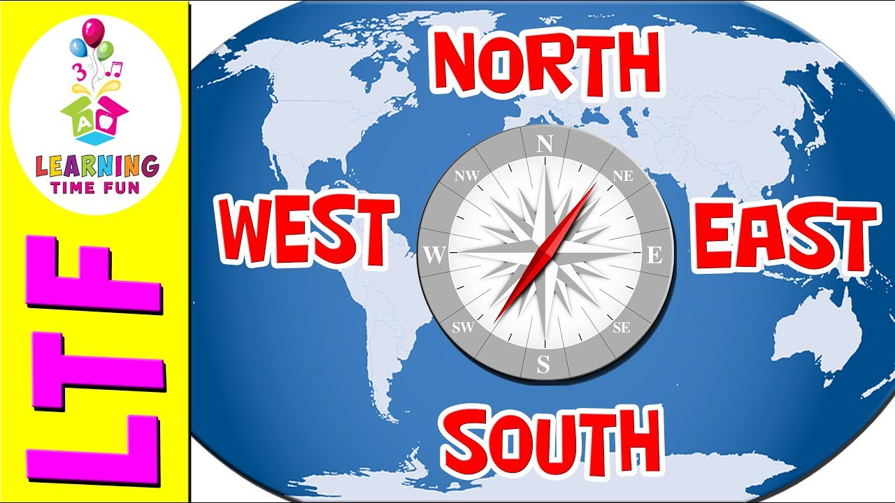 North South East West Cardinal Directions Geography For Kids - Cardinals points map us
