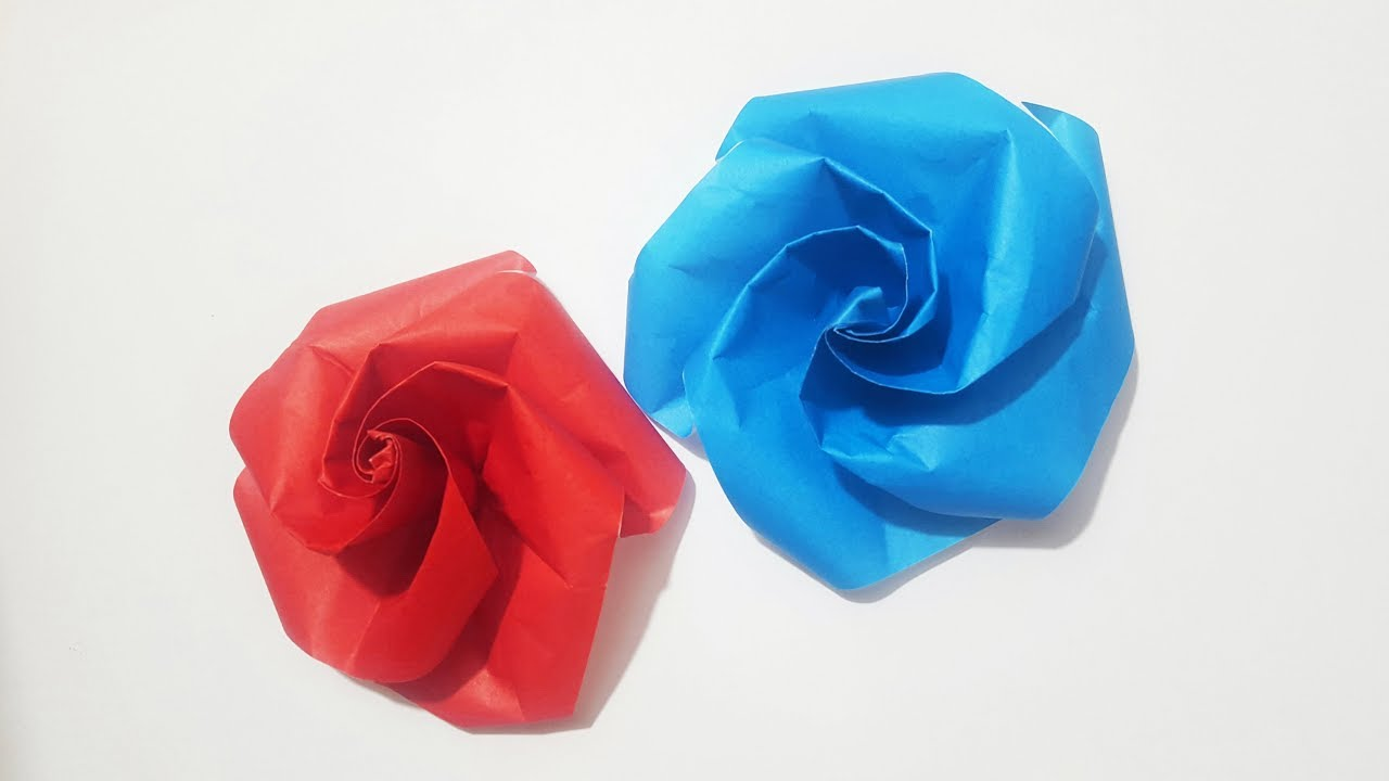 easy origami rose origami flower tutorial youtube