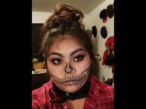 GLAM HALF SKULL | HALLOWEEN MAKEUP TUTORIAL | #HALLOWEENLOOK