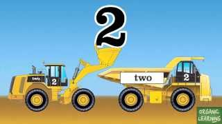 Wheel Loaders & Dump Trucks Teaching Numbers 1 to 10 - Learning Number Counting for Kids