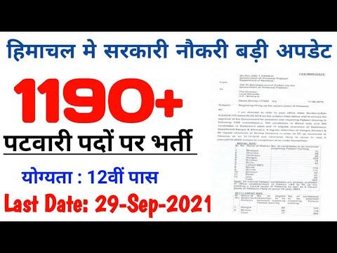 Patwari Bharti Latest News | Hp Patwari Recruitment 2021 | पटवारी भर्ती 2021 | Himachal Patwari 2021