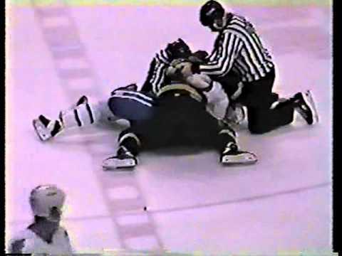 Barry Dreger #3 vs Jim Sprott #22 AHL Mar 17/93