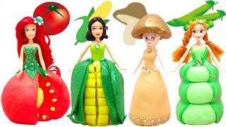 Play Doh DIY Vegetable Dress Elsa and Anna Sparkle Tomato Corn Mushroom Peas Costume Doll Ideas