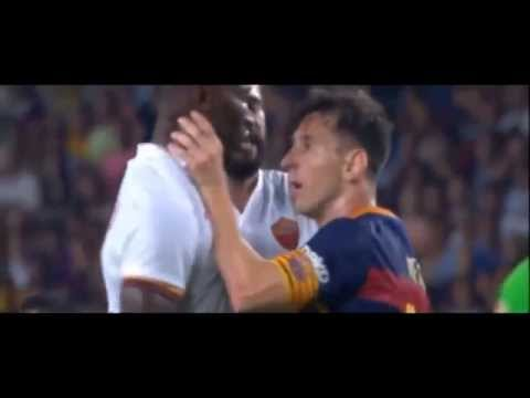 Messi Headbutt Yanga Mbiwa Barcelona vs Roma HD Fight 2015