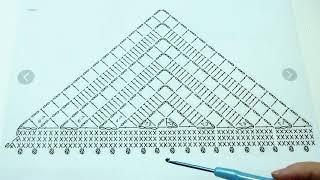 Шаль крючком для начинающих пошагово +схема  Урок 177  Simple crochet shawl