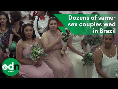 Dozens of same-sex couples wed in Brazil