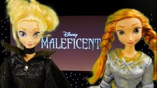 frozen elsa and anna watch maleficent movie with princess aurora opening night disney barbie doll e