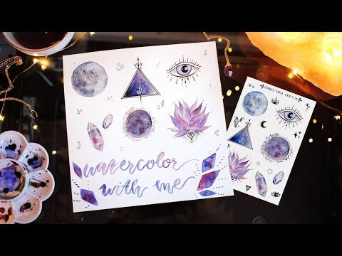 WATERCOLOR WITH ME🌙✨ Moons, Crystals and more