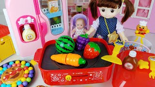 Baby doll fruit and food kitchen cooking toys play house story - ToyMong TV 토이몽