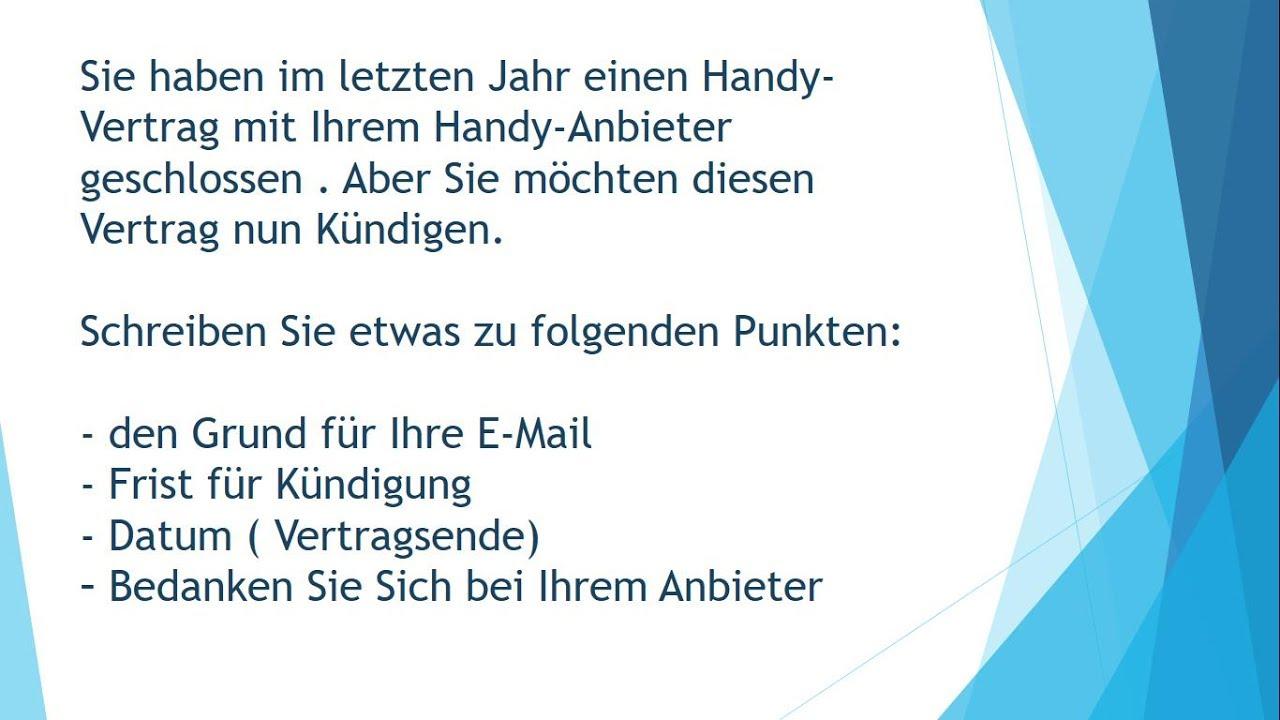 Handyvertrag Kündigen Brief Schreiben Zur Prüfung B1 Youtube