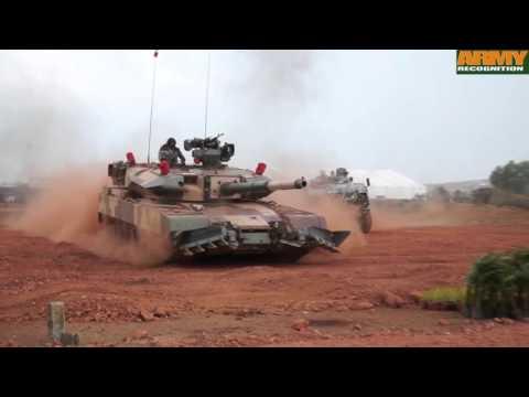 DefExpo 2016 live mobility demonstration Arjun Mk II I MBT tank Kestrel 8x8 APC Humvee Tata MPV
