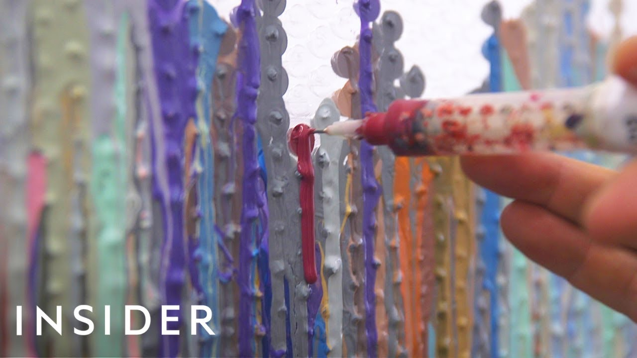 Artist Transforms Bubble Wrap Into An Impressionist Painting Youtube