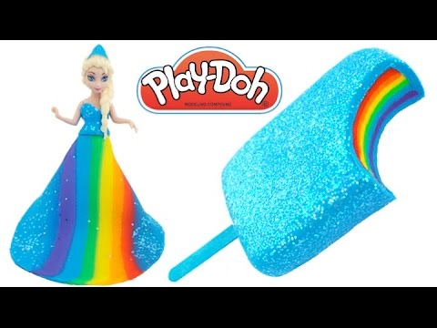 Thumbnail: Learn Colors Frozen Elsa Rainbow Play Doh Ice Cream Popsicle & Princess Dress RL