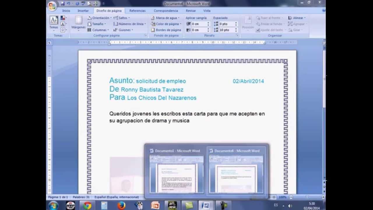 Como hacer una carta formal en Microft Office Word Ronny Bautista ...