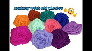 Rose flowers making with waste clothes