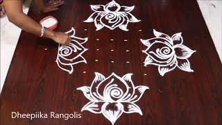 sravana sukravaram muggulu designs with 11 dots * friday lotus kolam * simple rangoli