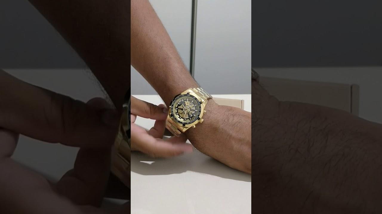 594adc407b0 Winner F1205158 Relógio Mecânico Automático Masculino com Correia de Aço -  Dourado