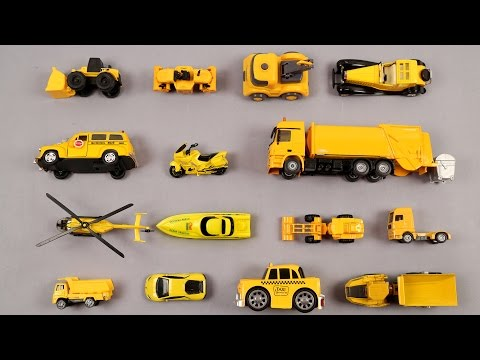 Learn Yellow Colors For Kids With Car Trucks Bike Taxi Trailer Truck Garbage Truck Boat School Bus