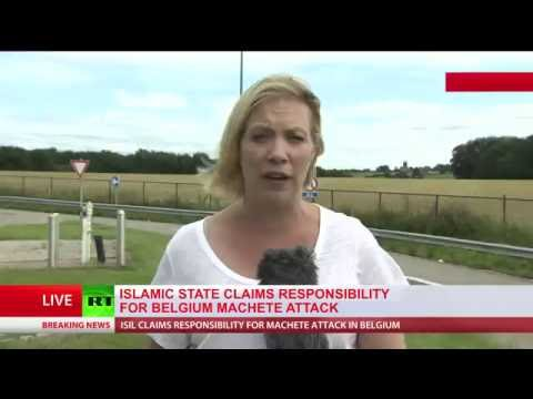 islamic extremist machete attack, 2 police officers injured in Belgium, islamic extremist DEAD...