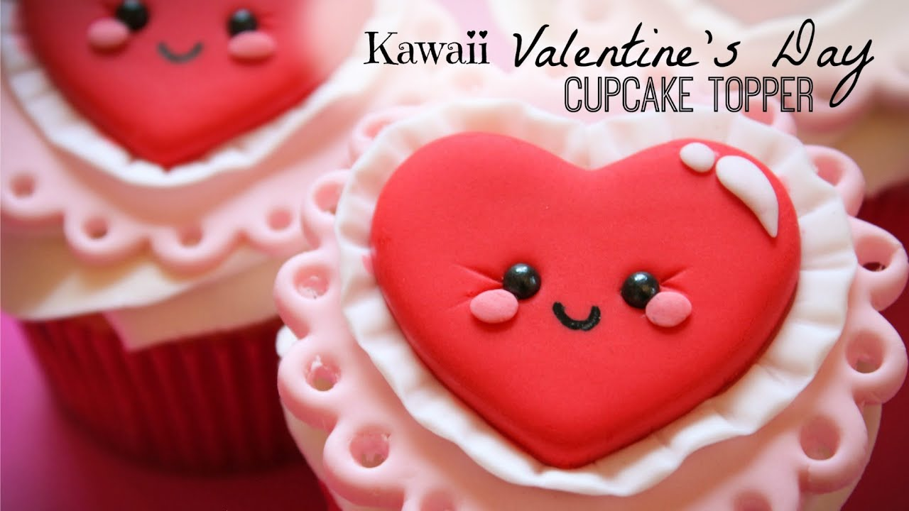Kawaii Valentineu0027s Day Cupcake Topper   YouTube