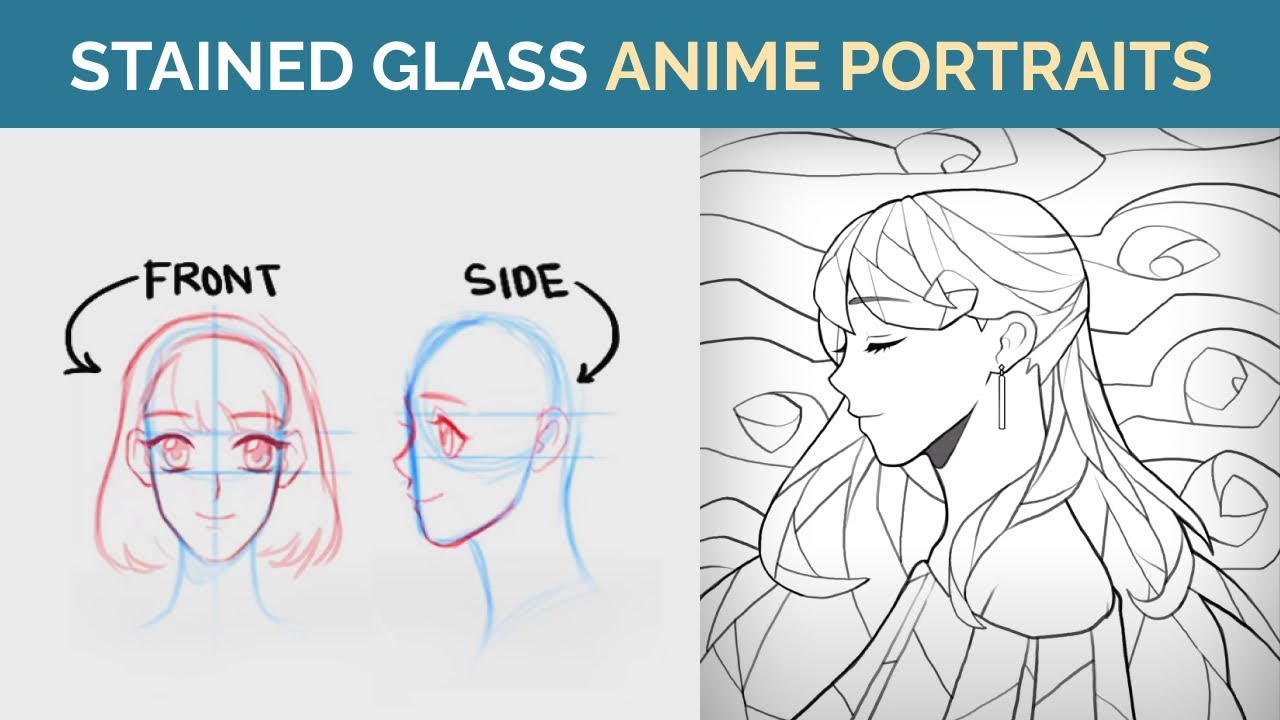 STAINED GLASS Illustration (Pt 1): How to Draw an ANIME STYLE Portrait Tutorial (Drawing Faces)