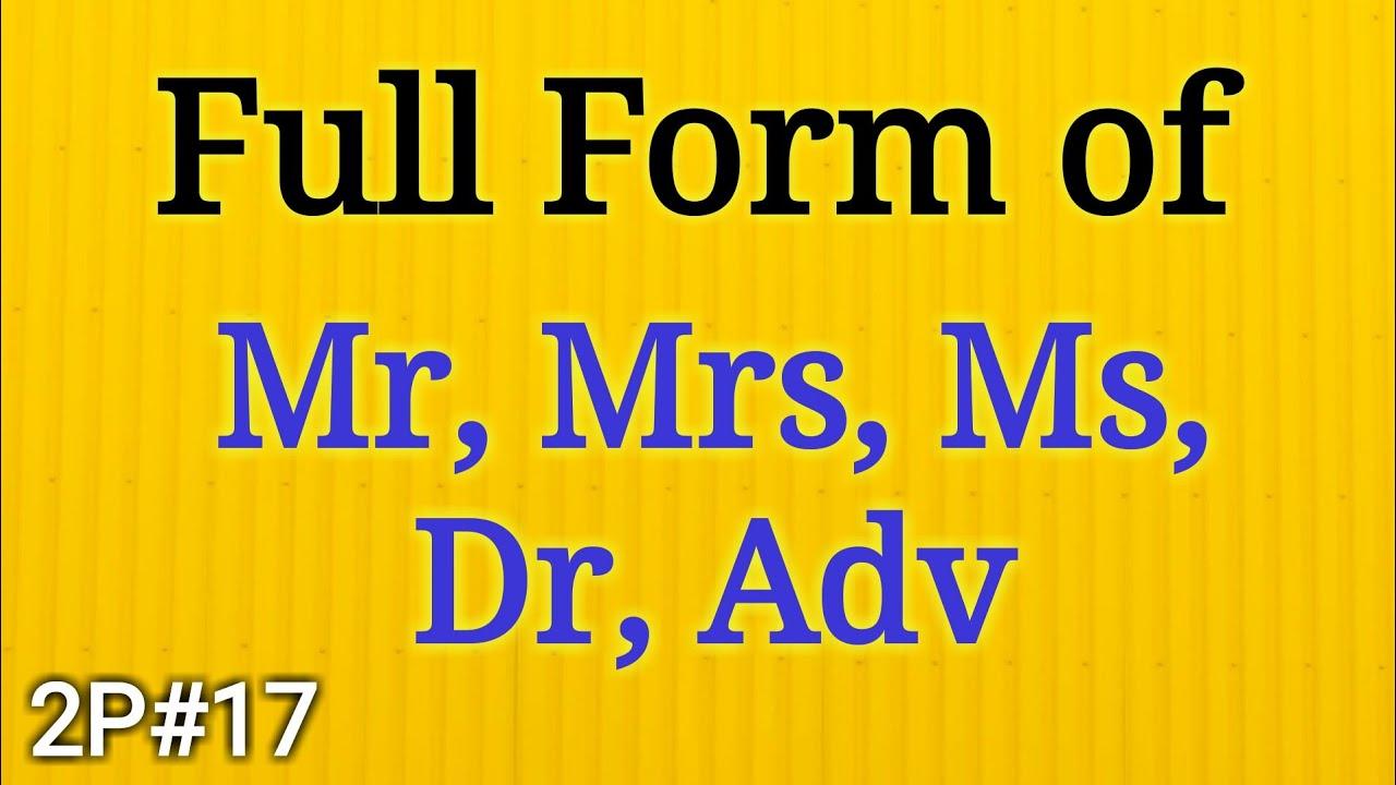 full form of mr
