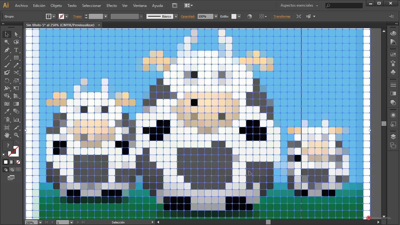 Illustrator 128 Efecto Pixel Art Con Generar Mosaico