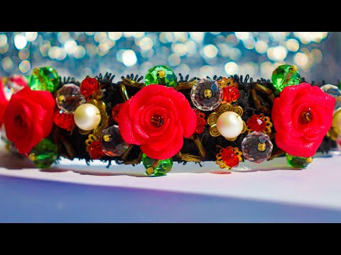 Very easy Roses made of polymer clay for jewelry. DIY Headband style DG