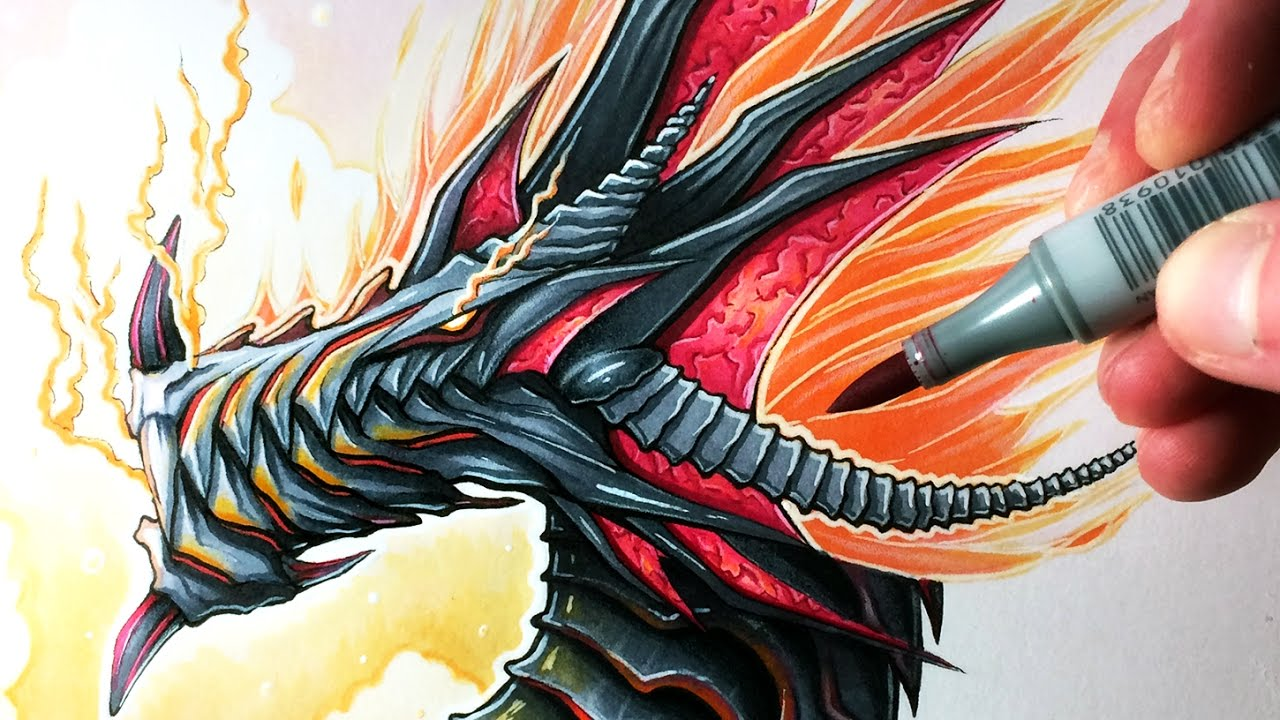 Uncategorized Fire Dragon Drawings lets draw a fire dragon fantasy art friday youtube