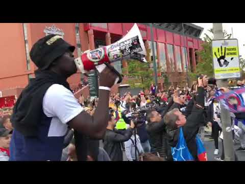 PSG Ultras arrive at Anfield