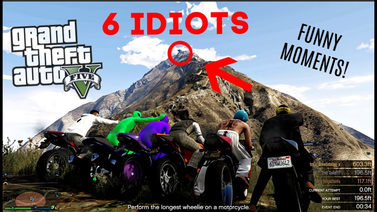 WE TRIED GETTING 6 IDIOTS UP MOUNT CHILIAD AND IT WENT HORRIBLY!! (GTA 5 FUNNY MOMENTS!)