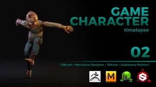 GAME CHARACTER TIMELAPSE | ZBRUSH, MARVELOUS DESIGNER, 3DCOAT and SUBSTANCE PAINTER - pt 02