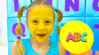 Nastya Learns English Alphabet with dad