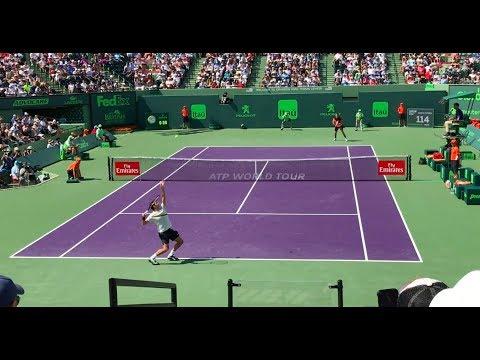 Roger Federer vs Thanasi Kokkinakis Miami Open 2018 Court Level View HD