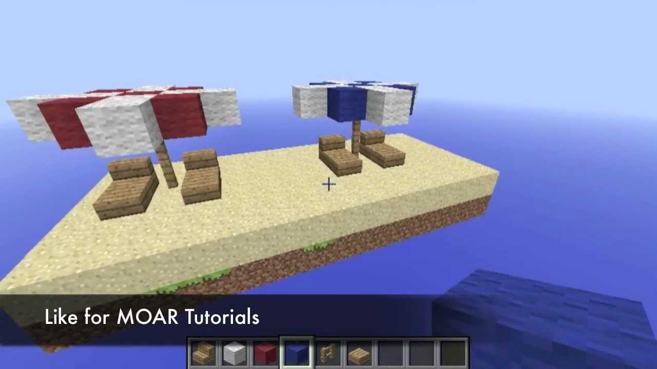 A Noobs Guide To Minecraft Beach Umbrella And Beach Chair Youtube