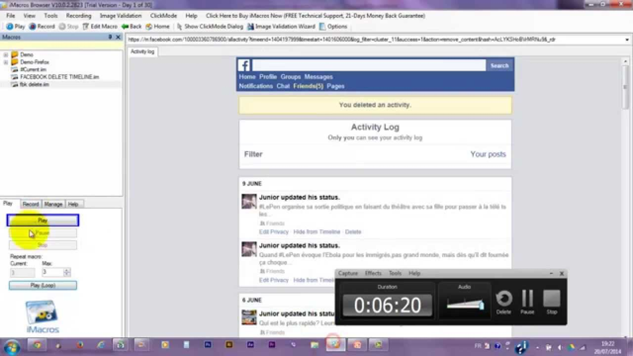 Supprimer ses posts facebook delete all facebook posts with supprimer ses posts facebook delete all facebook posts with imacros automation automatique ccuart Choice Image