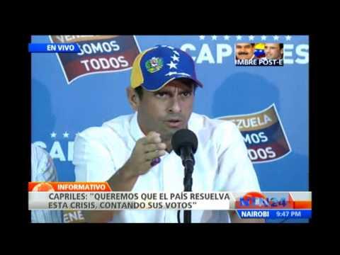 """Capriles pide a Maduro que """"reflexione"""" y sepa la responsabilidad que tiene"""